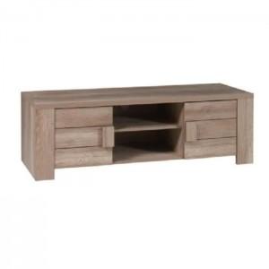 Meuble tv design FARRA couleur chêne. Idéal pour poser votre télévision et meubler votre salon. Deux portes, deux niches