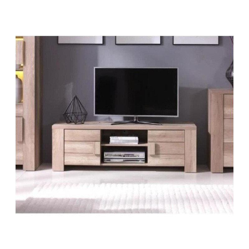 Meuble Tv Hifi Meuble Tv Design Ferrara Couleur Chene Ideal Pour P