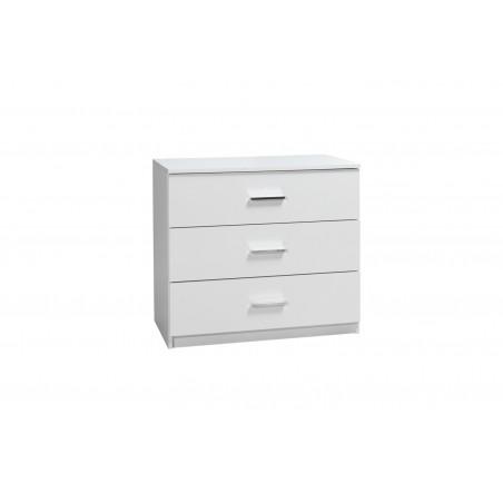 Commode PANAREA 3 tiroirs façades laquées blanches.