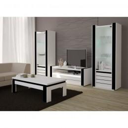 Salon Table Basse Design Lina Blanche Et Noire Brillante Meuble Id