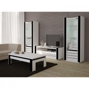 Table basse design LINA blanche et noire laquée