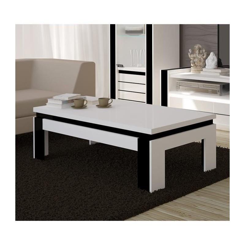 Table basse design lina blanche et noire brillante meuble - Table basse conforama blanche ...