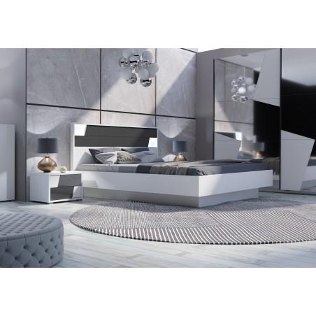 Chambre à coucher complète de la collection FULMO. Lit 160X200 cm avec sommier + tables de chevet.