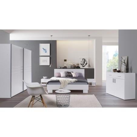 Ensemble design pour chambre à coucher COMO. Lit 160X200 cm avec sommier + tables de chevet.