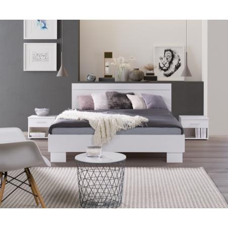 Lit adulte, deux places COMO. Couchage 160X200 cm avec sommier. Lit moderne et design pour chambre à coucher.