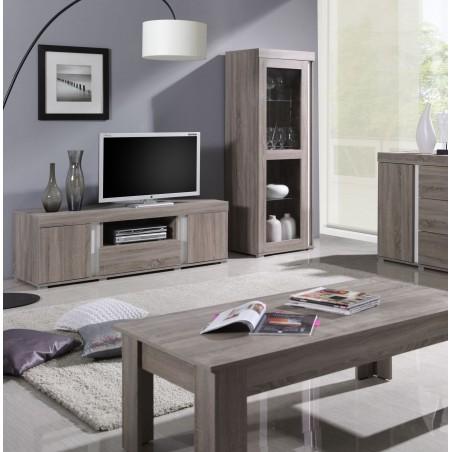 Ensemble AVIGNON pour salon. Meuble TV + Vitrine petit modèle (avec LED).