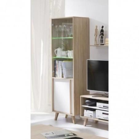 Vitrine, bibliothèque, vaisselier MALMO petit modèle + LED. Meuble type SCANDINAVE idéal pour votre salle à manger.
