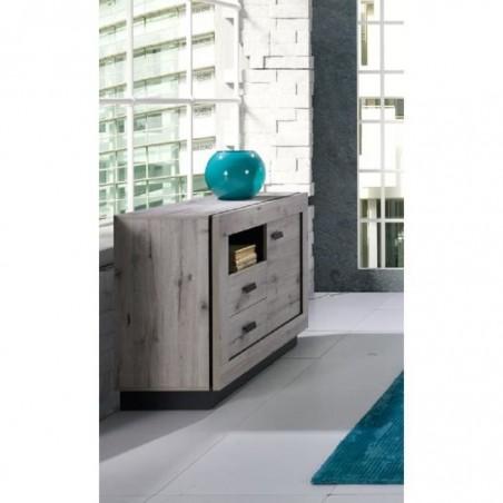Buffet, bahut petit modèle MALA. Coloris chêne wellington. Meuble design idéal pour votre salon ou salle à manger.