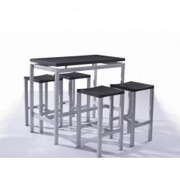 Set de table design REAL table haute + 4 tabourets
