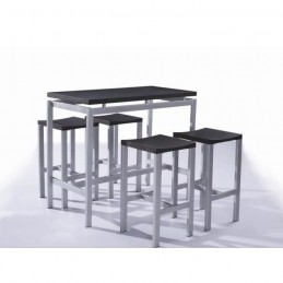 Set de table design REAL table haute + 4 tabourets