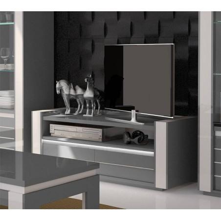 Meuble tv LINA gris et blanc brillant + LED. Composé de deux tiroirs et deux niches. Design et moderne