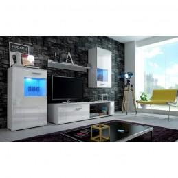 Meuble de salon, meuble TV complet FOX blanc mat / façades blanches laquées, brillantes + LED