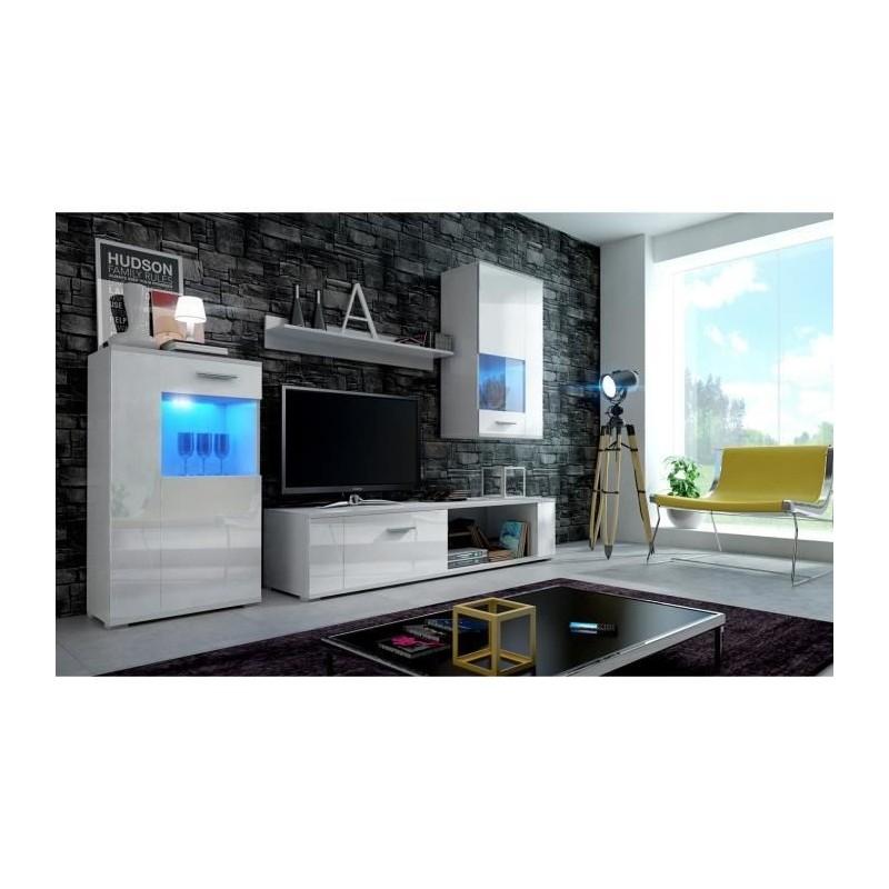 meuble de salon meuble tv complet fox blanc mat fa ades. Black Bedroom Furniture Sets. Home Design Ideas