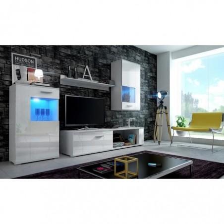 Meuble de salon, meuble TV complet FOX blanc mat / façades blanches brillantes + LED. Meuble design avec colonne suspendue.