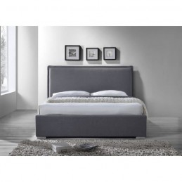 lit adulte design nova en tissu gris couchage 140x200 cm sommier. Black Bedroom Furniture Sets. Home Design Ideas