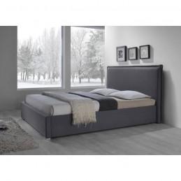 Lit adulte design NOVA en tissu gris 140x200 cm + sommier