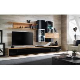 Ensemble meubles de salon collection MIAMI. Composition murale coloris chêne et noir brillant. LED incluses. Mobilier design