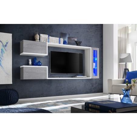 Meuble tv suspendu, meuble de salon complet SATURNE. Composition murale moderne et design. LED incluses