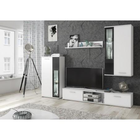 Meuble de salon, meuble TV complet SNOW. Corps blanc mat / façades blanches et noires + LED.