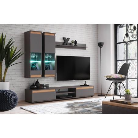 Ensemble de meubles pour votre salon MOJO. Composition murale coloris gris anthracite et chêne. LEDS incluses