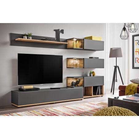 Ensemble de meubles pour votre salon KLIS . Composition murale coloris gris anthracite et chêne. LED incluses. Meuble tv design