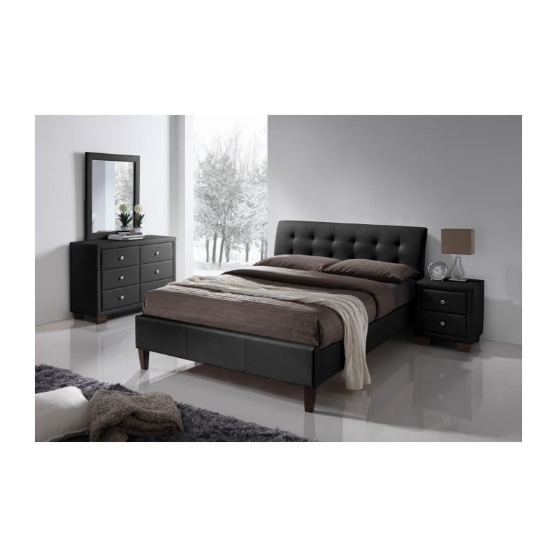 chambre coucher lit adulte deux places design suzanna sommier 1. Black Bedroom Furniture Sets. Home Design Ideas
