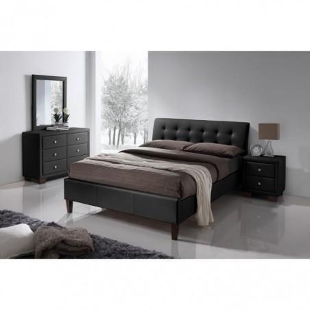 Lit 160x200 deux places design SUZANNA + sommier . Tête de lit capitonnée.