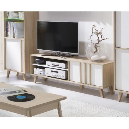Meuble TV design SIMPLY, 1 porte et 1 niche, coloris blanc et effet béton.