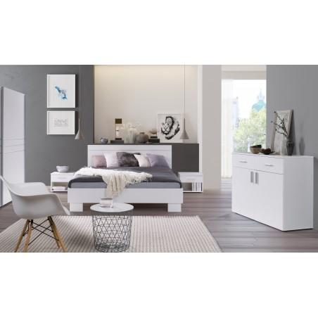 Ensemble design pour chambre à coucher COMO. Lit 160X200 cm avec sommier + tables de chevet + commode.