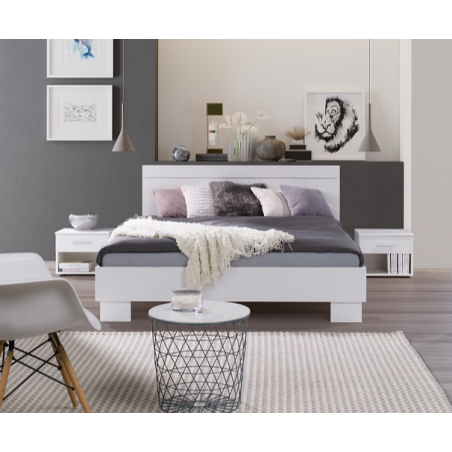 Lit adulte deux places COMO + MATELAS mémoire de forme. Couchage 160X200 cm avec sommier. Lit moderne et design.