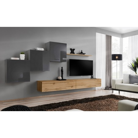 Ensemble meuble salon mural SWITCH X design, coloris chêne Wotan et gris brillant.