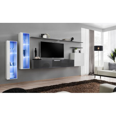 Ensemble meuble salon mural SWITCH XI design, coloris gris brillant et blanc brillant.