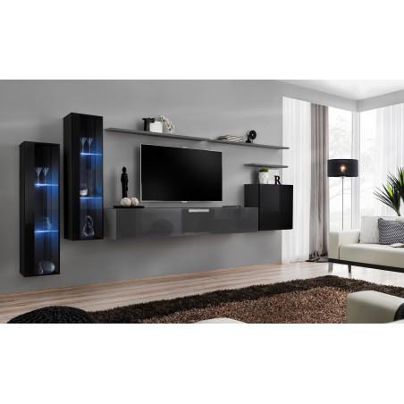 Ensemble meuble salon mural SWITCH XI design, coloris gris brillant et noir brillant.