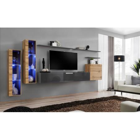 Ensemble meuble salon mural SWITCH XI design, coloris gris brillant et chêne Wotan.