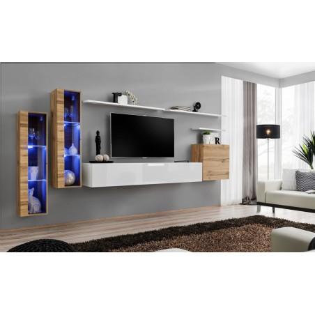 Ensemble meuble salon mural SWITCH XI design, coloris blanc brillant et chêne Wotan.