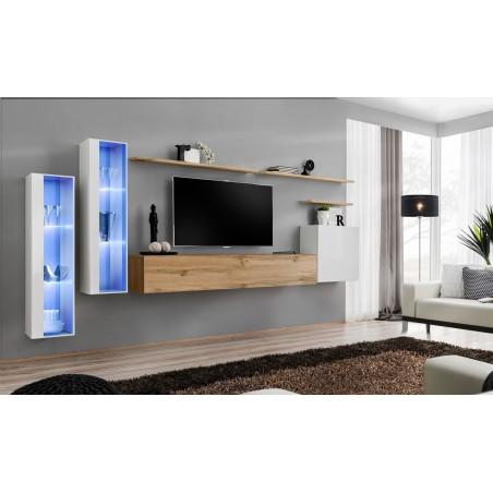 Ensemble meuble salon mural SWITCH XI design, coloris chêne Wotan et blanc brillant.