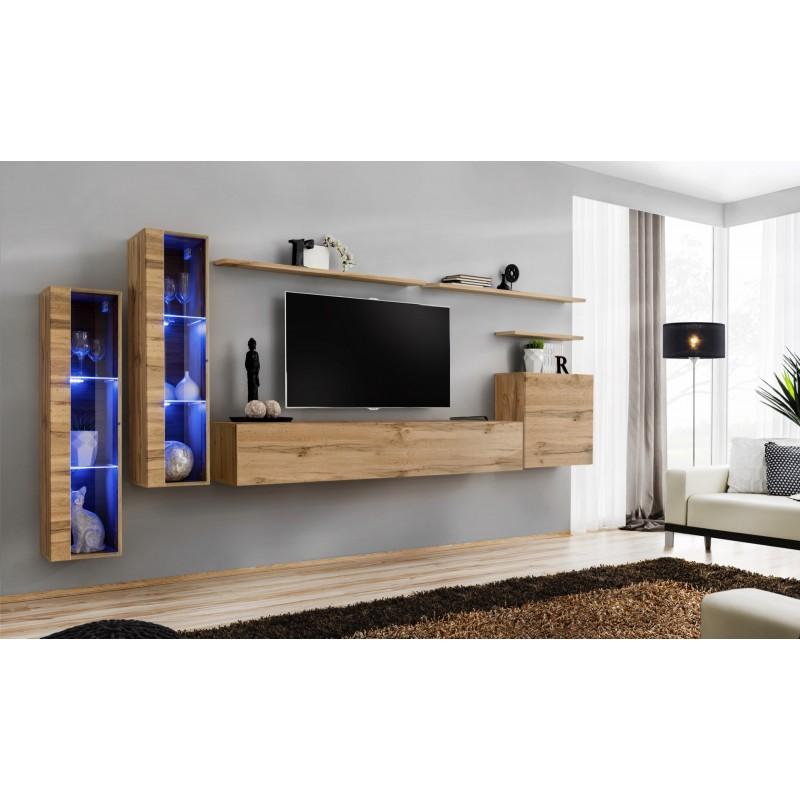 Ensemble meuble salon mural SWITCH XI design, coloris chêne Wotan.