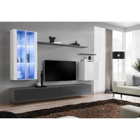 Ensemble meuble salon mural SWITCH XII design, coloris gris et blanc brillant.