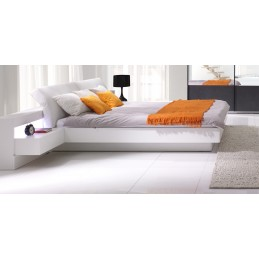 Lit RENATO + sommier + tables de chevet intégrées avec LED, couchage 160x200 cm. Idéal pour votre chambre à coucher
