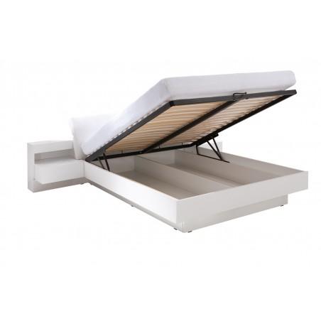 Lit avec coffre RENATO + sommier + tables de chevet intégrées avec LED, couchage 180x200 cm.