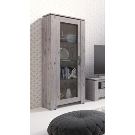Vitrine petite modèle IRON une porte vitrée. Coloris chêne naturel Wellington. Style vintage et moderne.