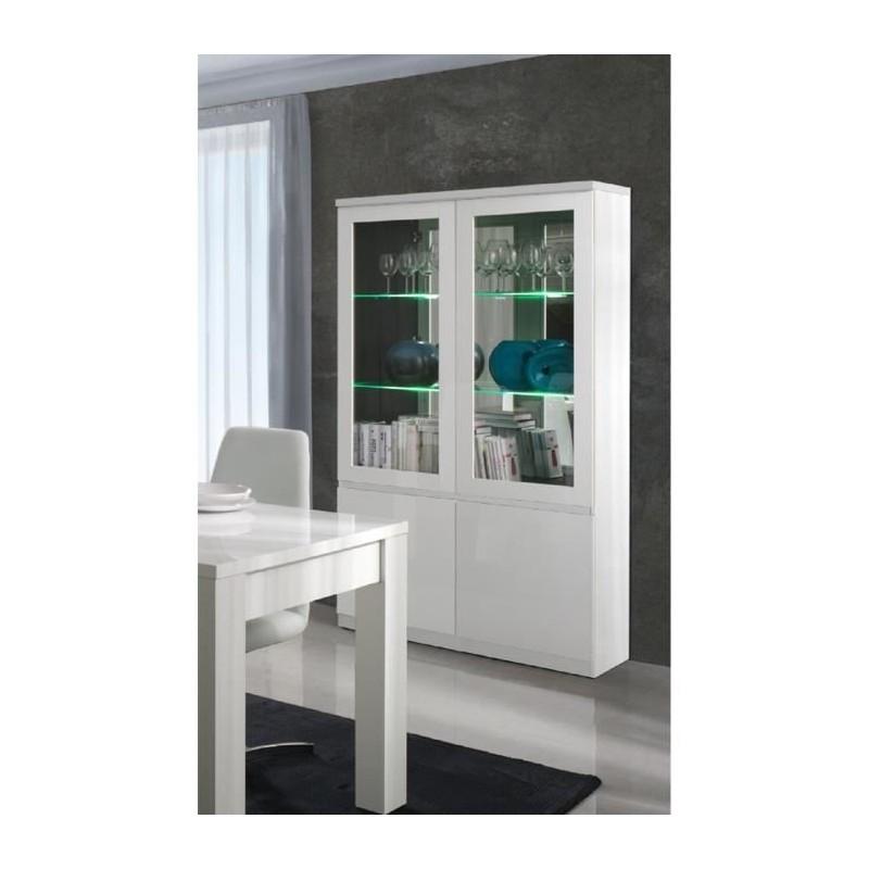 vitrine vaisselier argentier fabio blanc brillant high. Black Bedroom Furniture Sets. Home Design Ideas