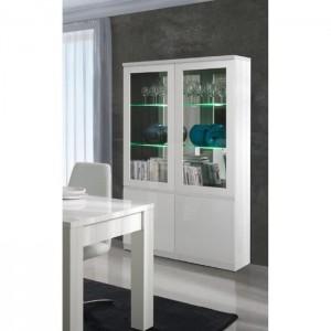 Vitrine, vaisselier, argentier FABIO blanc brillant high gloss + LED