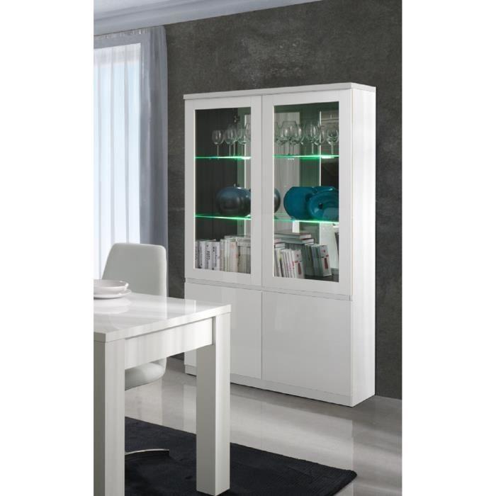 vitrine vitrine vaisselier argentier fabio blanc brillant high gl. Black Bedroom Furniture Sets. Home Design Ideas
