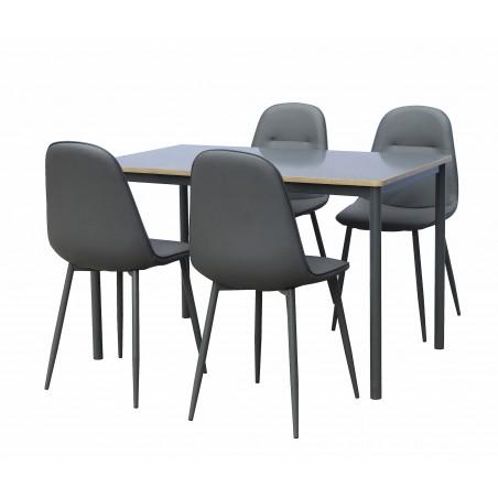 Ensemble table et 4 chaises TOULOUSE. Set pratique et design pour votre cuisine ou salle à manger