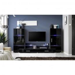 Ensemble meuble TV TOWER noir de haute brillance avec LED