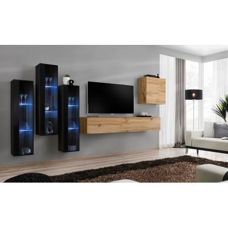 Ensemble meubles de salon SWITCH SBII design, coloris blanc et gris brillant.