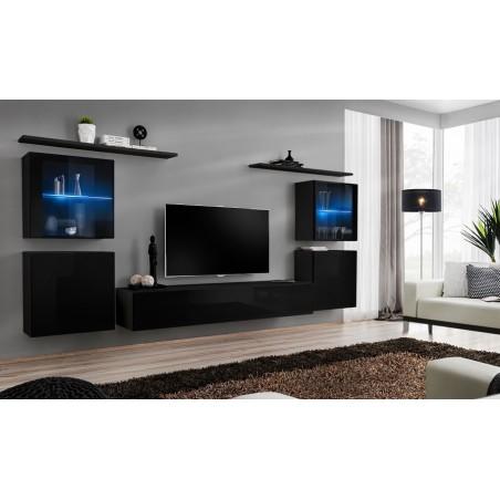 Ensemble meuble salon mural SWITCH XIV design, coloris noir brillant.