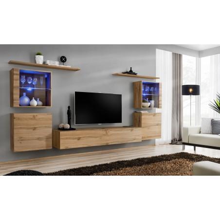 Ensemble meuble salon mural SWITCH XIV design, coloris chêne Wotan.