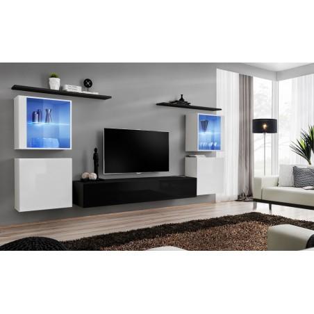 Ensemble meuble salon mural SWITCH XIV design, coloris noir et blanc brillant.